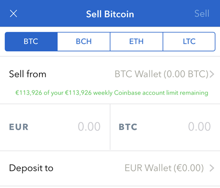Coinbase sell BTC